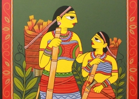 Ragunath Chakrobrty,Ghore Fera,Handmade Colour,Painting On Canvas,Size=69x69cm,Year 2013.