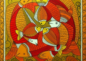 Ragunath Chakrobrty,Mas,Painting No=1,Handmade Colour,Painting On Canvas,Size=92x92cm,Year 2013.