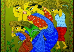 Ragunath Chakrobrty,Nabanno,Handmade Colour,Painting On Canvas,Size=92x92cm,Year 2013.