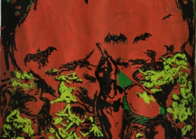 Azadi Parvin Tuesly,The Genocide, Serigraphy, 58x73. 2011